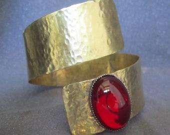 metal bracelet, gold bracelet, metal cuff, red cuff, wrap bracelet, gold wrap cuff, metal jewelry, wide bracelet, cuff women, red bracelet