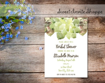 Succulent Bridal Shower Invitation, Watercolor Succulent Wedding Shower Invitation, Green Watercolor Bridal Shower Invite, Printable File