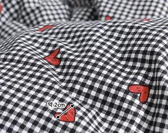 Square Heart - Check pattern / 20s Cotton fabric