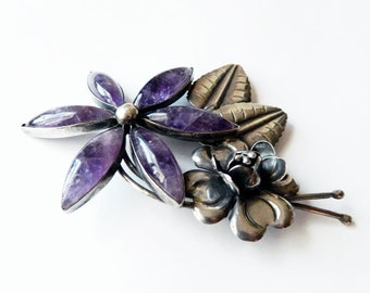 Large Vintage 1930s Mexican Sterling Silver Amethyst Flower Brooch