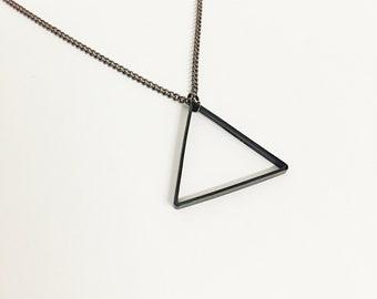Black Triangle Necklace // Matte Black Triangle Geometric Necklace // Minimalist Jewelry // Geometric Jewelry // Boyfriend // Gun Metal