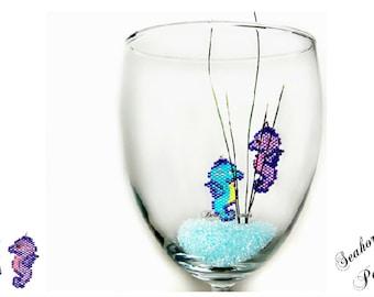 Seahorse Bead PATTERN, Ocean Animal Charm, Miyuki Brick Stitch | Digital File