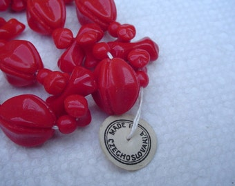 """Tagged Strand Vintage Czech Glass Beads Cherry Red 12 1/2"""" Long"""