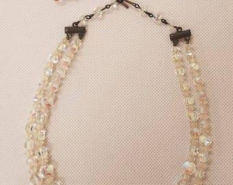 Vintage Aurora Borealis Alice Crystal Necklace