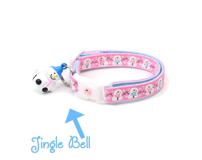 Snow Cat Collar - Jolly Snowmen on Pink - Small Cat / Kitten or Large(standard) Size Collar
