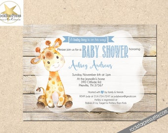 Giraffe Baby Shower Invitation, Boy Baby Shower Invitation, Digital File,  PRINTABLE _1305
