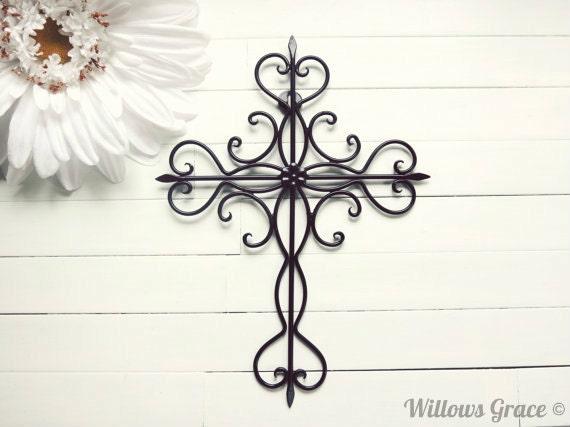 Items similar to Black Ornate Metal Cross Wall Art / Black Home ...