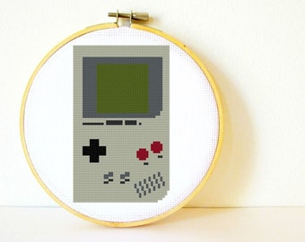 Counted Cross stitch Pattern PDF. Instant download. Gameboy. Includes easy beginners instructions.