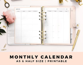 A5 HALF Size Printable Personal Planner Inserts, Monthly Calendar