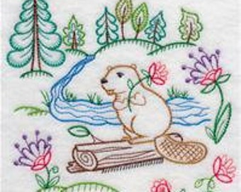 Pair of Flour sack towels - Colorful vintage style Beaver - Embroidered Great Gift!