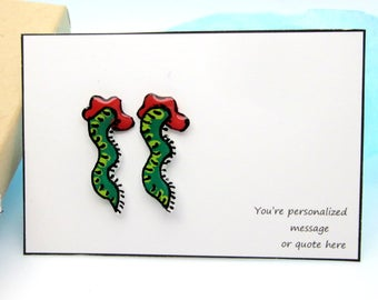 Zombie Stud Earrings or 3D Insect Tattoo, Reusable