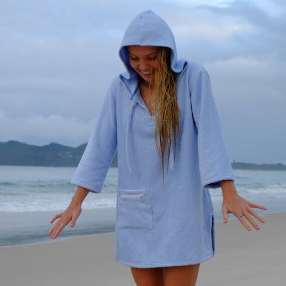 Hooded Towel Poncho Womens Surf Swim Changing Robe Dress For Female Available In Blue Hot Pink White Black Made In Australia