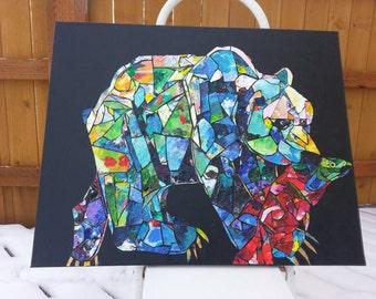 Original Acrylic Collage Bear. Large painting.