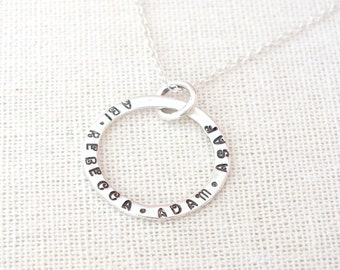 Custom Silver Circle Necklace, Hand Stamped Circle Necklace, Name Necklace, Personalized Circle Necklace,925 Stamped Circle, Family Necklace
