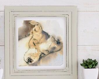 Jack Russell Dog Sleeping, Watercolour Print