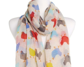 Ivory Chickens Scarf / Oversized Shawl / Ladies Womens Scarves / Cover Up / Gift For Her / Wrap / Gift Idea / Multicolour Chicken Print