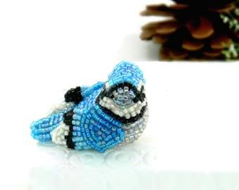 Blue Jay Figurine Miniature Beaded Bird Animal Totem Stocking Stuffer Hostess Gift *READY TO SHIP