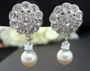 Bridal Earrings Pearl earrings Bridal Rhinestone Earrings Clip-on Earrings Pearl Bridal Earrings Wedding Pearl Earrings Dangle STEPHANIE