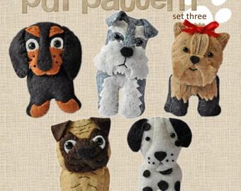 Cute plush Dogs sewing pdf pattern set Three, pug, dachshund, dalmation, terrier, keyring, plushy, felt, sew your ien, schnauzer