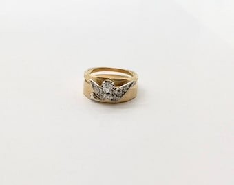 Yellow Gold Diamond Wedding Set, Vintage Diamond Wedding Set, Yellow Gold Wedding Set,  Diamond Engagement and Wedding Ring
