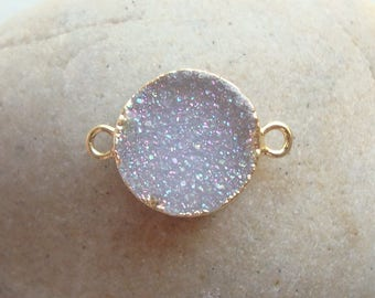 1 pc, 12mm, Opal Aura Pearl Like Treated Off White Druzy Drusy Pendant, Double Bail Connector round pendant, WR12