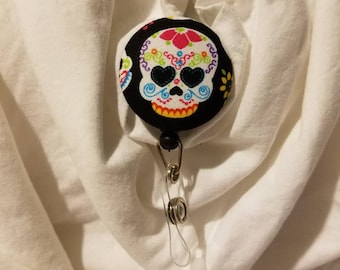 Sugar skull badge holder