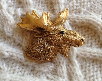 Vintage gold moose brooch 1970s