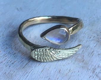 Gold Angel Wing Ring with Rainbow moonstone