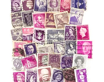 36 x purple, used postage stamps from 24 different countries, all off paper for collage, stamp collecting, crafting and scrapbooking