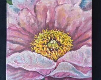 Pink Peony 14x14 Acrylic Mixed Media