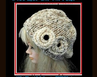 KNITTING pattern, hat, women, baby, children, adult, teens, clothing, accessories, num 479, KNIT flower and leaves