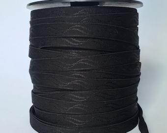 100 Metres x 16mm Black Plush Back Elastic for Lingerie.
