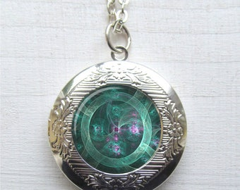 Jade Mechanical Eye Photo Locket Necklace