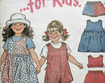New Look 6396 Girl's Dress, Top, Shorts, Romper Sewing Pattern New / Uncut Size 2, 3, 4, 5, 6, 7