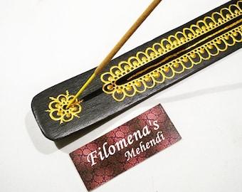 Incense Holder, Incense, Incense Support, Incense Burner, Wooden, Namaste, Meditation, Incense stick holder, Golden flower, Diwali decor
