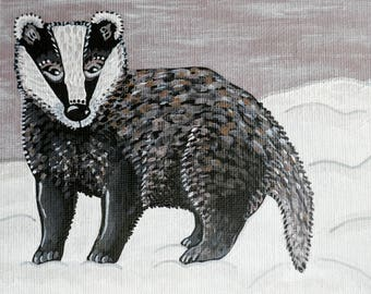 Winter Badger. Original acrylic painting on canvas board.