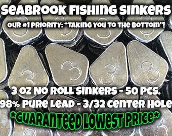 3 oz No Roll Slip Sinkers | 50 pcs | *FREE SHIPPING* | Guaranteed Lowest Price | Seabrook Fishing Sinkers