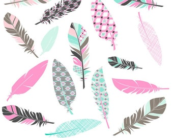 Feather Clipart, Digital Feathers, Feather Clip Art, Aztec Feathers, Pink Feather Clipart
