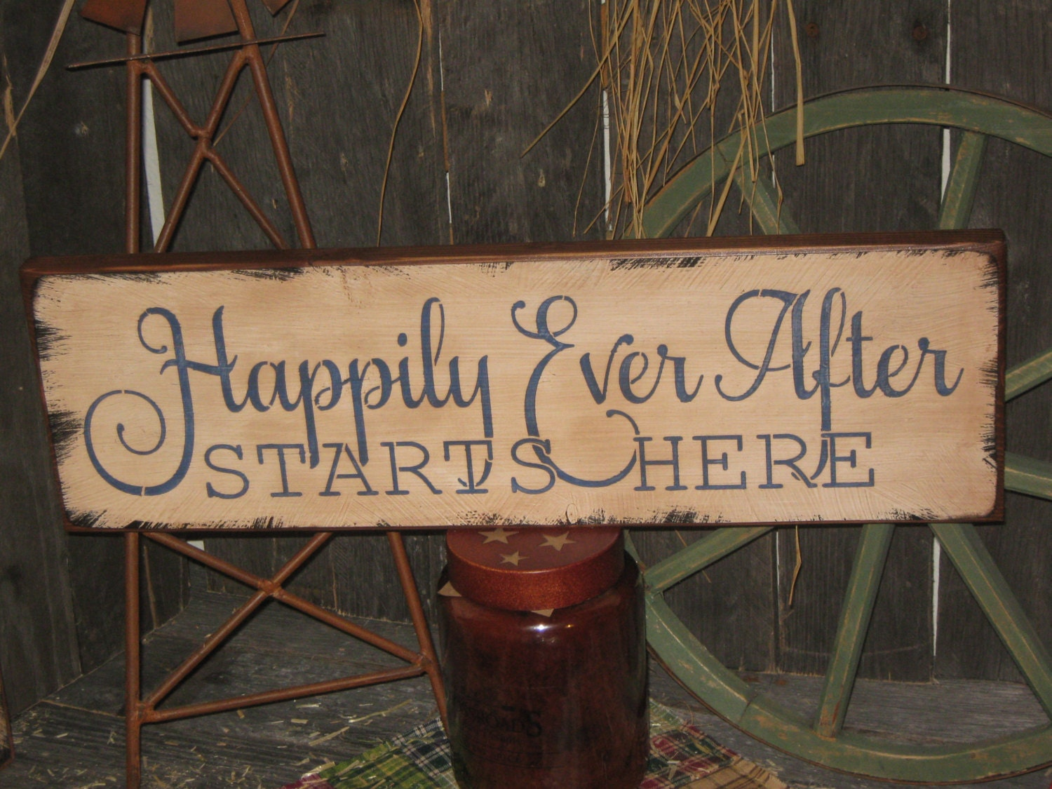 Primitive Wood Hand Painted Love Sign Happily Ever