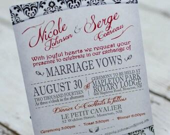 Damask wedding invitations |  demask invites handmade in Canada by empireinvites.ca