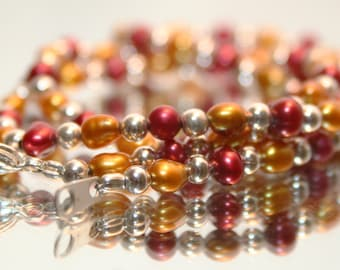 San Francisco 49ers Necklace Red Gold Necklace Freshwater Pearl Necklace