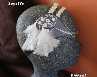 """Soyelle"" headband, headband feathers, fabric, pearls"