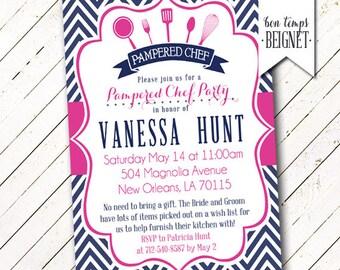 Pampered Chef Party Invitation - Bridal Shower Invitation, Pampered Chef Bridal Shower Invite, Kitchen Bridal Shower, Printable, Pink & Navy