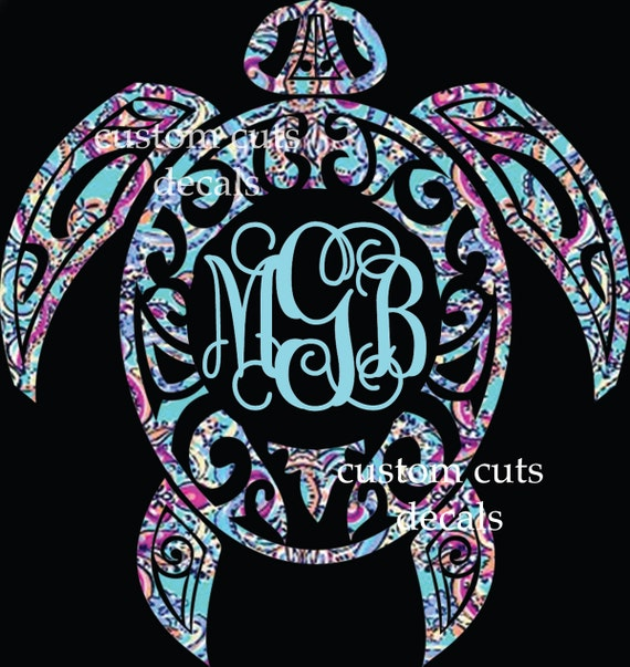 Sea Turtle Decal Turtle Monogram Decal Lilly Inspired