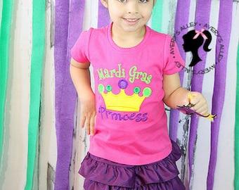 Mardi Gras Princess - Girl's Applique Shirt & Matching XL Hair Bow Set with Puff