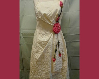 Free Shipping 1950s Ivory Satin Brocade Pinup Dress