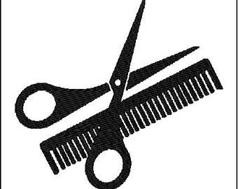 Scissors & Comb Embroidery Design