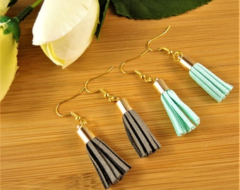 1 Pair of Grey Suede and 1 Pair of Pale Green Suede Tassel Bohemian Dangle Earrings #10
