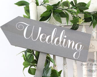 Wedding Directional Signs | Directional Wedding Sign | Wedding Signs for Outdoor Weddings | Ceremony Sign | - WS-49