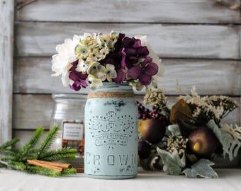 Vintage Crown Vase, Coffee Table Decor, Centrepiece, Light Blue Mason Jar, Rustic Decor, Housewarming Gift, Vintage Decor,